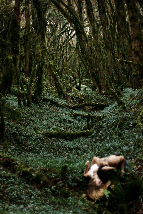 Sur une autre planète, un raie de lumière perce à travers les troncs recouverts de mousse. Perdu dans ce monde végétal, Hata et Davy Fournier sont enlacés.