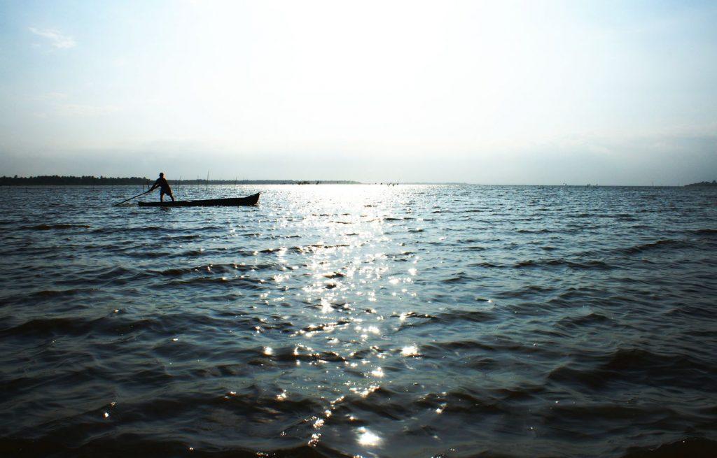 Un pécheur propulse sa barque avec une immense perche sur les eaux peu profondes du Lac Togo entre la côte du Golfe de Guinée et Togo Ville.