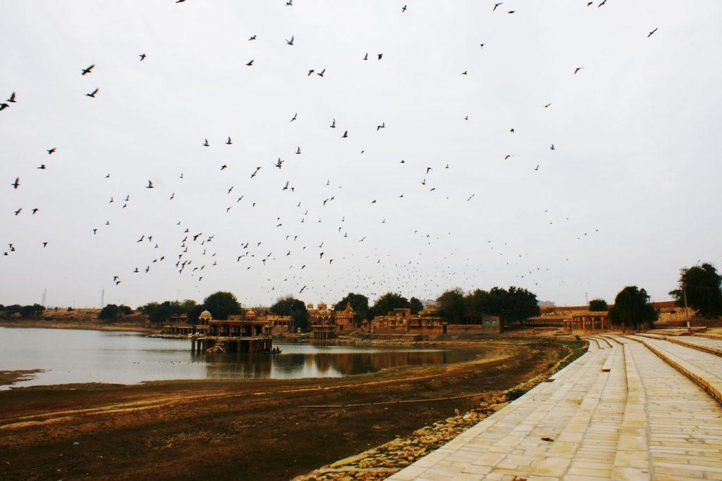 À l'extérieur de Jaisalmer, au rajasthan, des oiseaux s'envolent au-dessus du lac de Gadisar. Au premier plan, à droite, les gaths s'étalent à perte de vue.